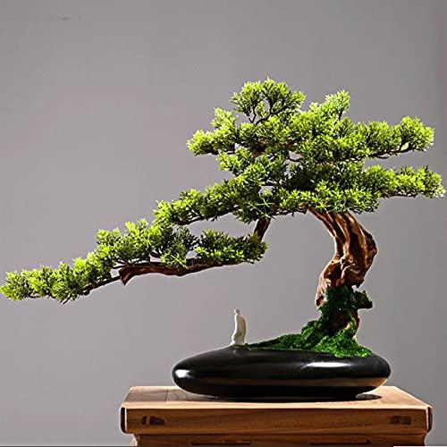 YUXINYAN Decorar Árbol de Pino Artificial Bonsai, Planta en Maceta Faux de 13 Pulgadas, Ornamentos de Olla de árbol Falsos Cedar Bonsai Plant para Pantalla de Escritorio Adornos