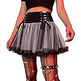 Mujer Y2k Encaje Mini Falda Cintura Alta Malla Patchwork Tul Faldas E Chica Harajuku Una Línea Plisada Volantes Góticos Falda