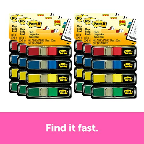 Postit Flags Assorted Primary Four Colors 35 Flags Each Color Red Blue Green and Yellow  140 Total Flags Per Pack 6 Packs Included Flags are 47 in x 17 in 68346Pk