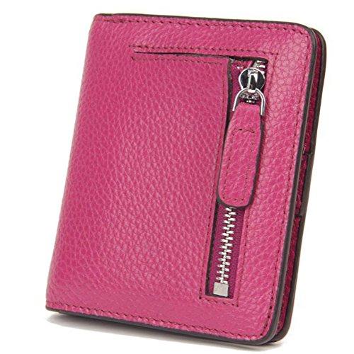 AprinCtempsD RFID Cartera Pequeñas Piel Genuino Monedero Slim Tarjetero de Crédito Mini Cremallera para Mujer (Rosa)