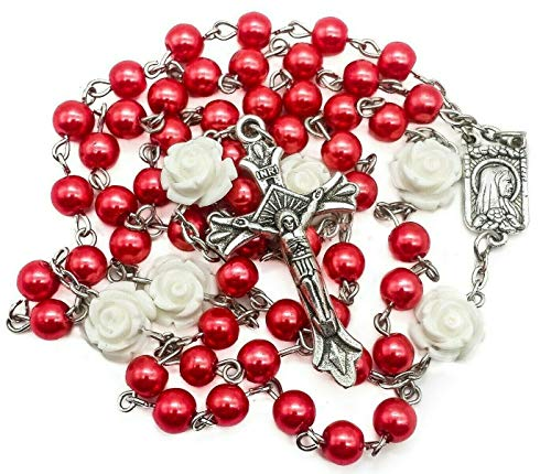 Nazareth Store Catholic Red Pearl Beads Rosary Jerusalem Necklace Our Rose Lourdes Medal & Cross NS