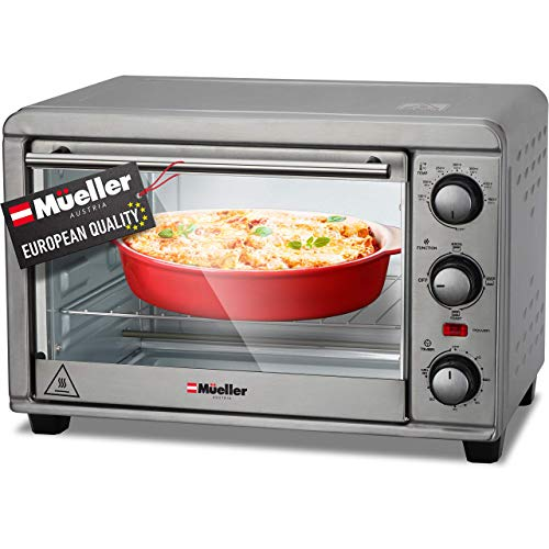 Mueller AeroHeat Convection Toaster Oven 1200W, Broil, Toast, Bake, 4 Slice, Stainless Steel Finish, Timer, Auto-Off, Sound Alert, 3 Rack Position, Removable Crumb Tray, with Accessories and Recipes