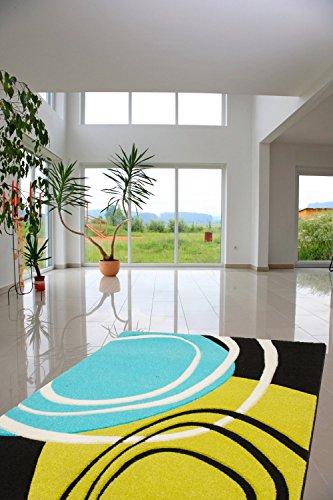 Hochwertiger Teppich / Teppich strapazierfähiger schöner Teppich / Dieser wunderschöne und weiche Teppich ist in der Größe 160 x 230 cm erhältlich Die Design-Teppiche sind Ausdruck eines modernen Lifestyles. Durch die Farben grün blau schwarz und die Relief-Optik ist er ein Blickfang Wohnzimmerteppich