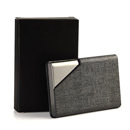 KUUQA 名刺ケース 名刺入れ PU革とアルミ材質 ステンレス製 メンズ・レディースも兼用 薄い 大容量 20枚ぐらい入れ 白 黒 金 シルバグレイ サファイアブルー五色可選択 (シルバグレイ)