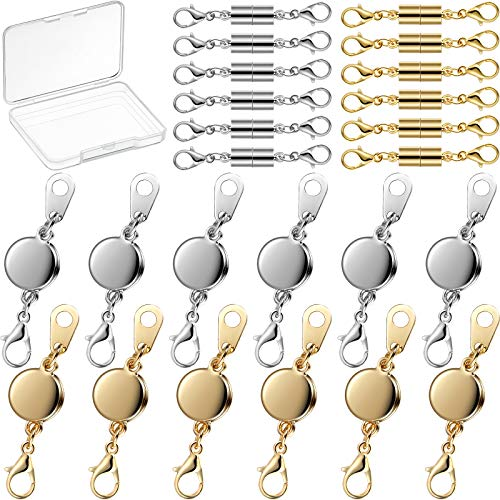24 Pieces Magnetic Jewelry Clasp Magnetic Lobster Clasp Necklace Jewelry Locking Clasps Oblate and Cylindrical Necklace Clasp Closures Bracelet Extender for Jewelry Making, Gold and Silver