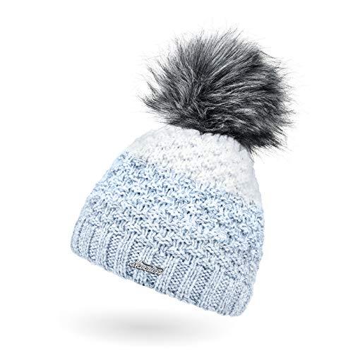 Neverless® Damen Strick-Mütze gefüttert Fleece-Innenfutter Fell-Bommel Kunstfell Winter-Mütze Bommelmütze Grobstrick Mehrfarbig hellblau-weiß