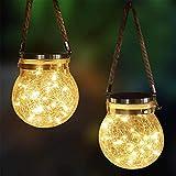 DSHOW Lanterna solare a LED da appendere in vetro a energia solare, impermeabile, in vetro, ideale per esterni, giardino, cortile e prato (2 pezzi)