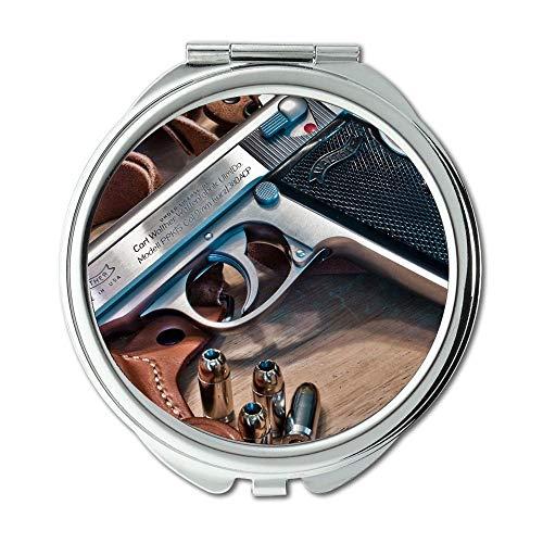 Yanteng Spiegel, Travel Mirror, Pistole und Messer Zeigen, Round Mirror, alle Pistole, Taschenspiegel, Tragbare Spiegel