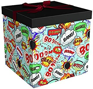 Gift Box 10x10x10 Big Bang Collection - Easy to Assemble & Reusable - No Glue Required - Ribbon, Tissue Paper, and Gift Tag Included - EZ Gift Box by Endless Art US