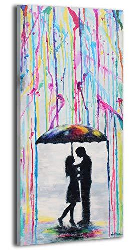 YS-Art | Acryl Gemälde Liebhaber | Handgemalte Leinwand Bilder | 115x50cm | Wandbild Acrylgemälde | Moderne Kunst | Leinwand | Unikat | Mehrfarbig
