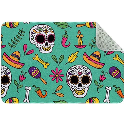 Biaoya - Tappeto piccolo antiscivolo rettangolare, lavabile, ideale per la cameretta dei bambini, motivo: teschio, messicano, elementi verdi