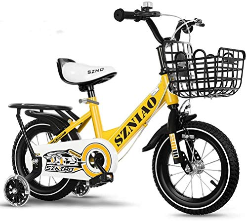 HCMNME Durable Bicycle Mountain Bikes for Kids with Training Wheels, 12' 14' Boys Girls Freestyle Bicycle for 2-10 Years Old with Back Seat and Basket, Carbon Steel Children's Bike,Yellow 1,12in