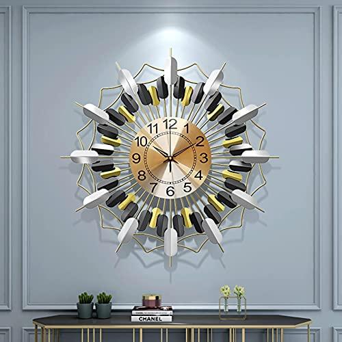 AMYZ Reloj de Pared de Metal Sunburst,26 Pulgadas Reloj de Pared Starburst silencioso Moderno con Pilas Relojes de Cuarzo de Color Pop Decorativos para Sala de Estar y Dormitorio