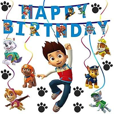 SZWL Paw Dog Patrol, Patrulla Canina, Decoraciones Colgantes En Espiral, Fiestas Temáticas De La Patrulla Canina, Decoraciones Para Fiesta De Cumpleaños de SZWL
