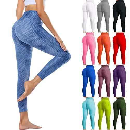Famous Leggings on Tiktok Yoga Pants for Women High Waist Tummy Control Booty Bubble Hip Lifting Fitness Sports Running Pant (Bubble Pants-Black, S)