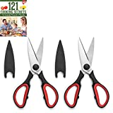 Ultra Sharp Kitchen Cooking Scissors, Heavy Duty, Serrated Stainless Steel Shears, Set of 2,...
