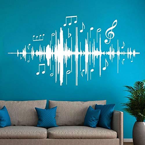 Pegatinas de pared, Arte del tatuaje de pared, Nota de audio Frecuencia musical para habitación infantil Guardería 57x31cm
