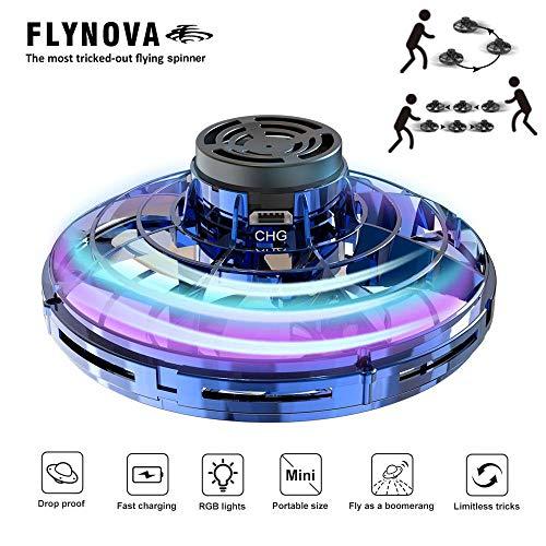 UMIWE Jouet Volant Hand Spinner, Mini UFO Drone avec Lumière LED Colorée, Lancer vers Le Haut et Dos Boomerang, Cadeau Jouet Cool pour Les Enfants Adultes
