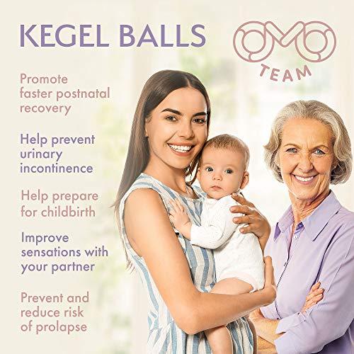 Kegel Balls with Vibration, Kegel Ben wa Balls Exerciser for Tightening& Pelvic Floor Exercises for Woman-to Regain Bladder Control for Beginners & Advanced (10 Massages)
