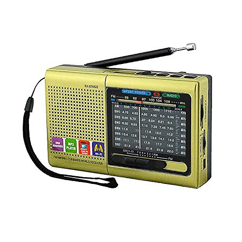 Multi-Function Wireless Radio FM/AM/SW Multi-Band Radio Portable Bluetooth Speaker MP3 Player can be Operated by Rechargeable Lithium Battery/3 AA Batteries Support TF Card/U Disk/Audio Input