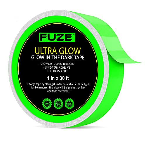 Glow in The Dark Tape — 30 Ft x 1 Inch — Bright, Rechargeable, & Long-Lasting Fluorescent Tape...