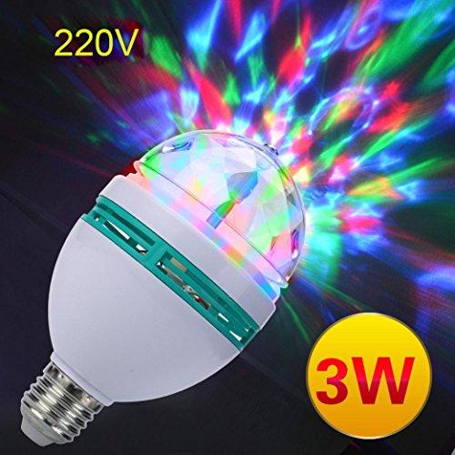 STRIR RGB automática giratoria E27 3W a todo color de la lámpara estroboscópica LED luz de la etapa del partido del disco de cambio multi del color de la AC 220V