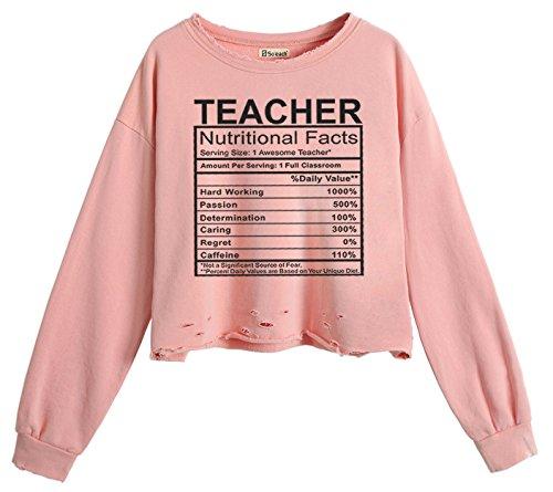 So'each Women's Awesome Teacher Crop Tops Hole Pullover Midriff Sweatshirt