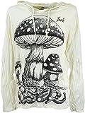 GURU SHOP Sure Langarmshirt, Kapuzenshirt Fliegenpilz, Herren, Weiß, Baumwolle, Size:XL, Bedrucktes Shirt Alternative Bekleidung