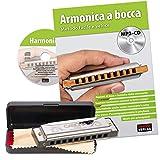 CASCHA Harmonica set débutant avec livre en italien, apprenez à jouer de l'harmonica blues, y compris étui, tissu et manuel, harmonica en do majeur