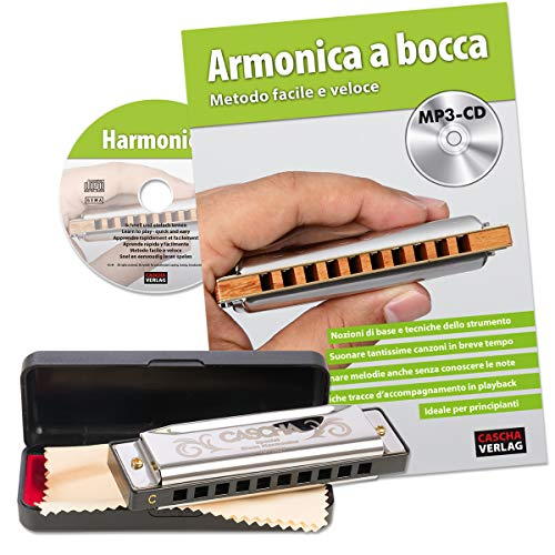 Cascha mondharmonica beginnerset met Italiaanse school, Blues Harmonica leren spelen, inclusief case, onderhoudsdoek en lesboek, C Dur Harmonica