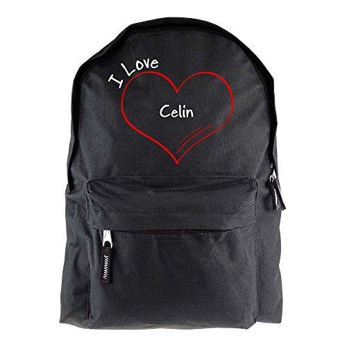 Rucksack Modern I Love Celin schwarz - Lustig Witzig Sprüche Party Tasche