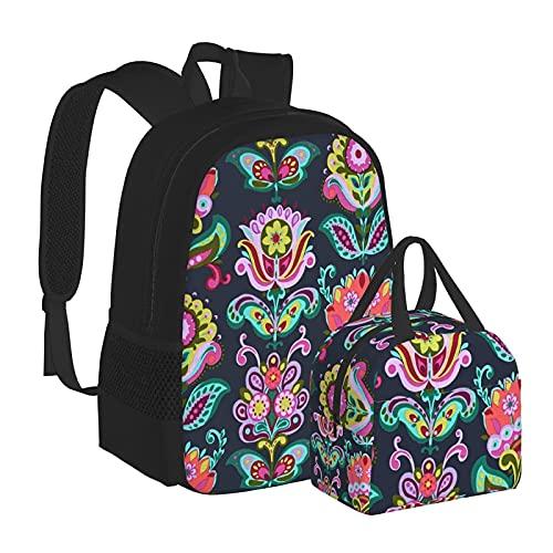 Solidaria - Zaino da scuola con fiori di loto per scuola, università, ragazze, per bambini, resistente all'acqua, per computer portatile, borsa casual con borsa termica per il pranzo