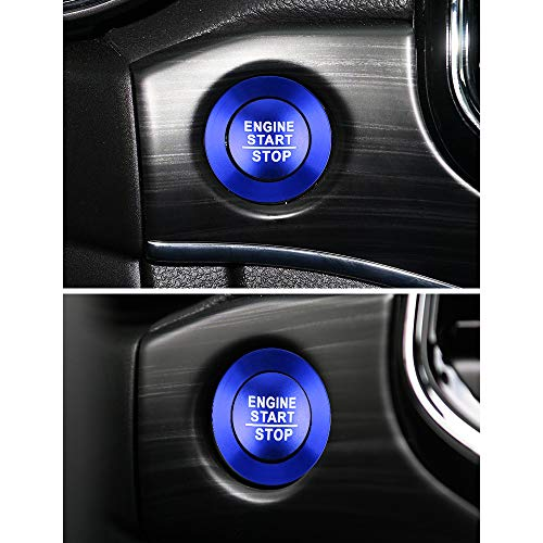 LECART for Jeep Grand Cherokee 2014-2021 Interior Accessories Car Engine Start Stop Push Button Cover Stickers Aluminum Alloy Keyless Ignition Button Metal Decal Stickers Auto Decoration Trims Blue