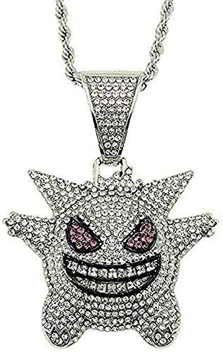 Yiffshunl Collar Joyas Hombres Rock Punk Iced out Shiny Vampire Bull Colgante Collar para Mujeres Hombres Regalo