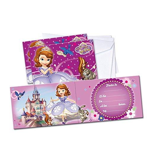 Princesse Sofia – 6 Invitations avec enveloppe, (Verbetena 014000802)
