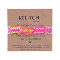 KELITCH ミサンガ ブレスレット 糸 手編み カラフル ツイスト コットン ミサンガ フリーサイズ - ピンク
