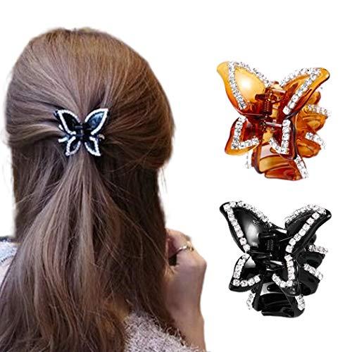 Nicute Schmetterling Haarspangen Kristall Haarklammer Clips Schwarz und Braun Haar Kiefer Clips rutschfeste Haarspangen Klemmen Set Haarschmuck für Frauen und Mädchen (2 Stück)