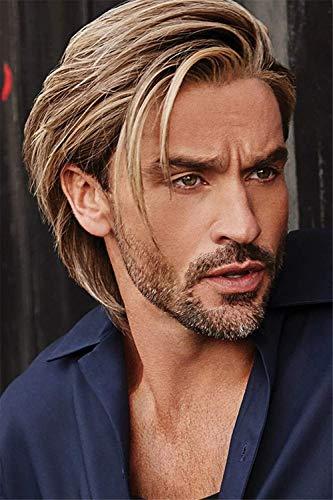 Peluca de uso diario para hombre, de color marrón medio, con flecos inclinados, para disfraces, cosplay, fiesta o uso diario
