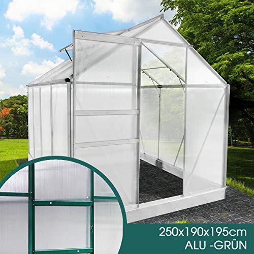 BRAST Gewächshaus Aluminium mit Fundament rostfrei 250x190x195 Grün 6mm Platten Alu Treibhaus Glashaus Tomatenhaus