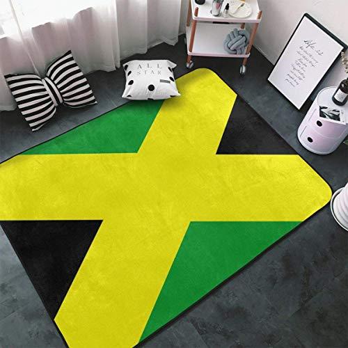 Tappeto in stile contemporaneo, stile astratto per soggiorno, antiscivolo, per interni ed esterni, con bandiera giamaicana verde, giallo