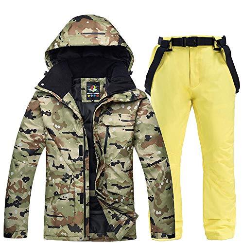 KLGZ Costume De Ski pour Hommes Ensemble Hiver en Plein Air Coupe-Vent Imperméable Chaud Épaissir Veste De Ski + Costume De Snowboard Pantalon B Yellow- M/XL