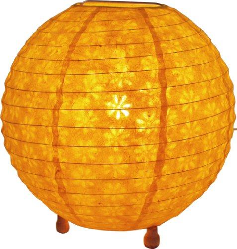 Guru-Shop Corona Round Reispapier Stehlampe 40 cm, Gelb, Lokta-Papier, Farbe: Gelb, Deckenleuchte Kugelförmig