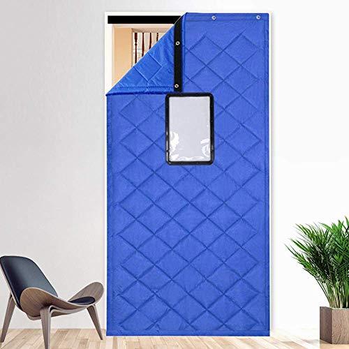 ZXL Blauer Türvorhang Wärmeschutz mit Fenster Warmdämmung Eingangstürfüllung Kaltblockierung Wasserdicht Winddicht Raumteiler Noise Ruduce (Größe: 120cmx230cm)