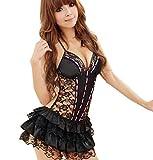 LuckES Ropa Interior para Mujeres Traje Disfraz de Criada Vestido Mini Corto Encaje para Carnaval Negro Las Mujer de Encaje francés Maid Costume Sexy Lingerie Cosplay Set (XXL, Negro)