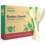 Bambus-Besteckset, 200 Teile, Bambus-Besteck, ohne Plastik, kompostierbar und biologisch abbaubar Besteck, Bambus, Besteckset, 17,5 cm (100 Gabeln, 50 Löffel, 50 Messer)