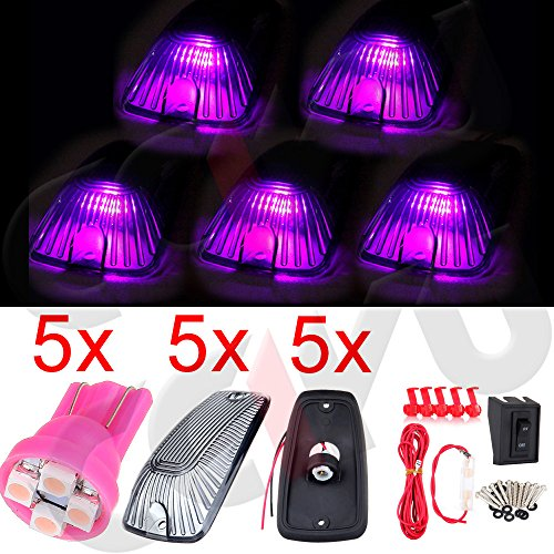 cciyu 5x Smoke Cab Marker Clearance Light Assembly +T10 Pink led +Wiring pack Replacement fit for 1988-2000 Chevrolet C2500 C3500 K1500 K2500 C1500 K3500