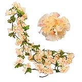 JaneYi (2 Stück Gefälschte Kirsch Rebe Künstliche Blumen Pflanze Hängend seiden...