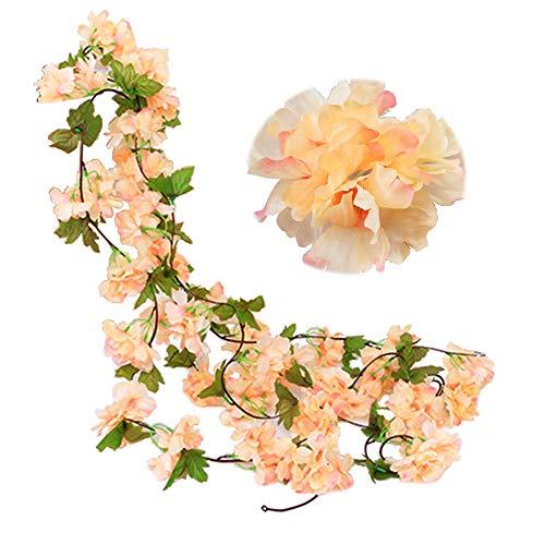 JaneYi (2 Stück Gefälschte Kirsch Rebe Künstliche Blumen Pflanze Hängend seiden Efeu Girlande mit grünen Blättern für Drinnen und Draußen Zuhause Hotel Garten Hochzeit Party Kunst Dekor(Champagner)