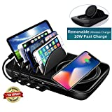 Wireless Charging Station Dock,Multiple Devices Charging Organizer with 10W Fast Qi Cordless Charge Pad, Multi Desktop Docking Station Hub with Type-C/USB/Quick Charge 3.0 Port for Android iOS, Black
