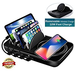 INNOVATIVE DESIGN FOR MULTI DEVICES: Charging station has 4 ports for wired charging and one removable slim charging pad for wireless charging. Ports included 1 type-c to type-c, 2 USB and 1 QC 3.0 interface, can work for iphone 6/6s/6 plus/6s plus/7...